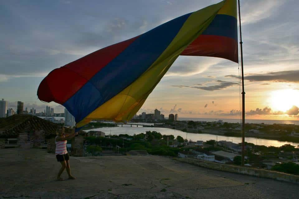 De vlag van Colombia in Cartagena
