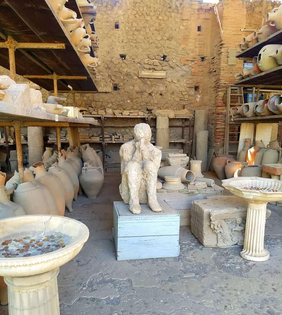 Beeld van overledene in Pompeii